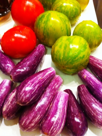 Irresistibly cute Fairy Tale eggplants - Sweet & sour green & red tomatoes