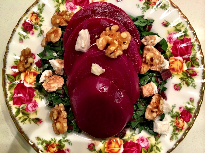Ingredients:  -Boiled beetroots -Raw or steamed chopped beet leaves and stems -Sprinkle of goat cheese and walnuts  -Drizzle of balsamic vinegar and olive oil