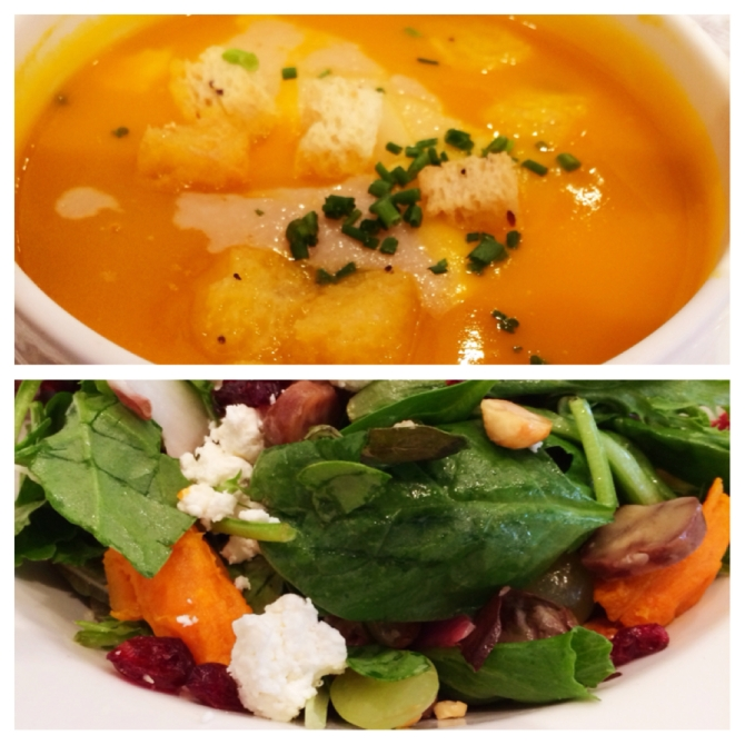 Top: Nothing better than the comfort of a smooth pumpkin soup to adjust to the crisp cool air Bottom: Mix your autumn produce in this delicious medley in-salad! (Ingredients: any green leafy vegetable, roasted apple, roasted chestnuts, grapes, cranberries, baked sweet potatoes, feta cheese)