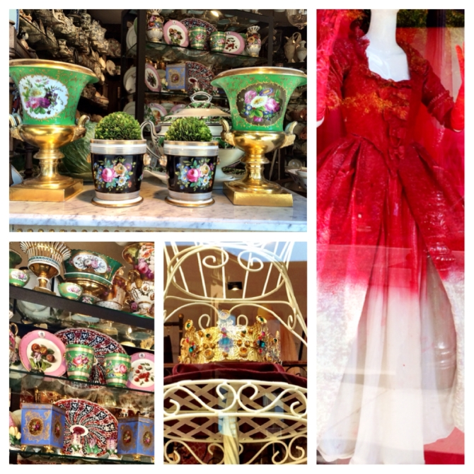 Top & bottom left: Bardith Antiques on Madison av.,  the go-to source for 18th-century English porcelain tableware and objets d'art. Bottom middle: Dolce and Gabbana majestically grand crown. Right: Victorian gown from Cesar Paciotti's window display. Manhattan, October '13