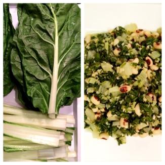 Zesty chard salad / appetizer with blackeye peas