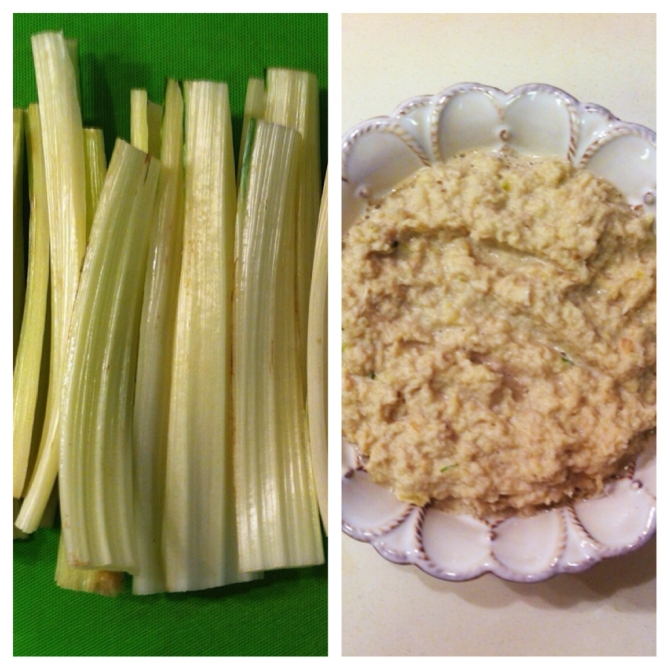 Chard dip (prepared in a similar way to hummus, but since we're replacing chickpeas with chard, it's lighter in calories)