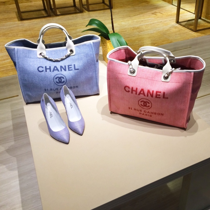 Spotted today: Chanel totes that could make a lovely diaper bag