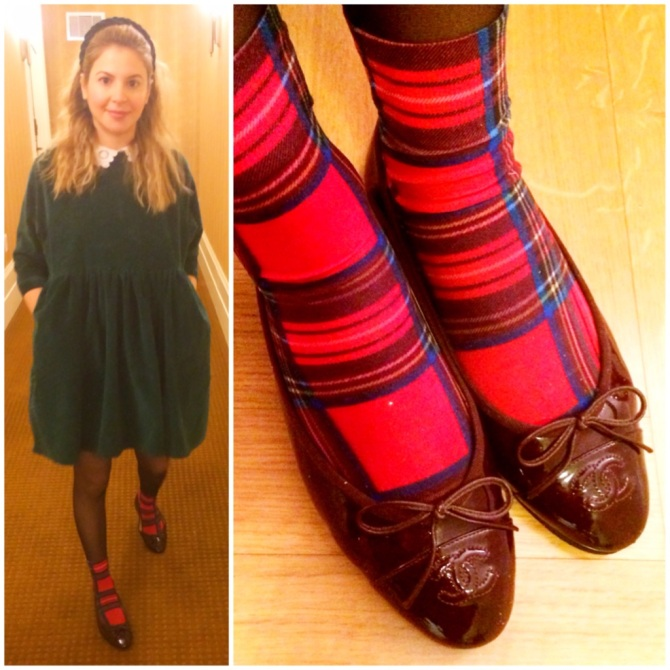 Whether you choose to wear it head to toe (coat or dress) or as an accent accessory (headband, shoes, scarf... or socks like me;) ) , tartan is a must-have this season.