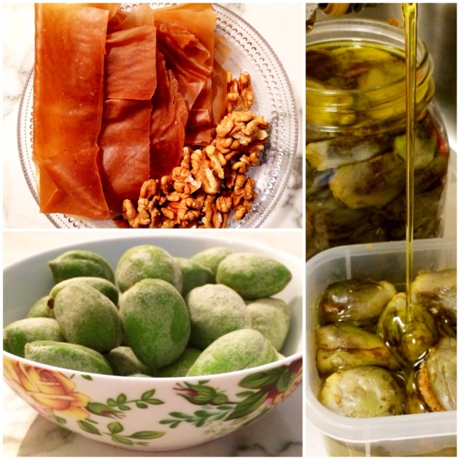 Upper left: dried grapes (malban) with raw walnuts  Lower left: fresh-from-the-field green almonds Right: Pickled mini eggplant  stuffed with peanut & spices